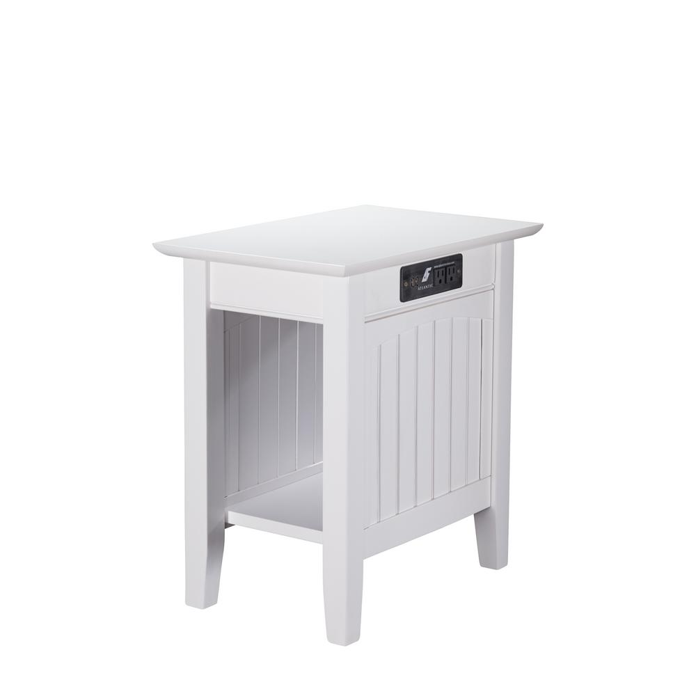 Nantucket White Chair Side Table with Charging Station