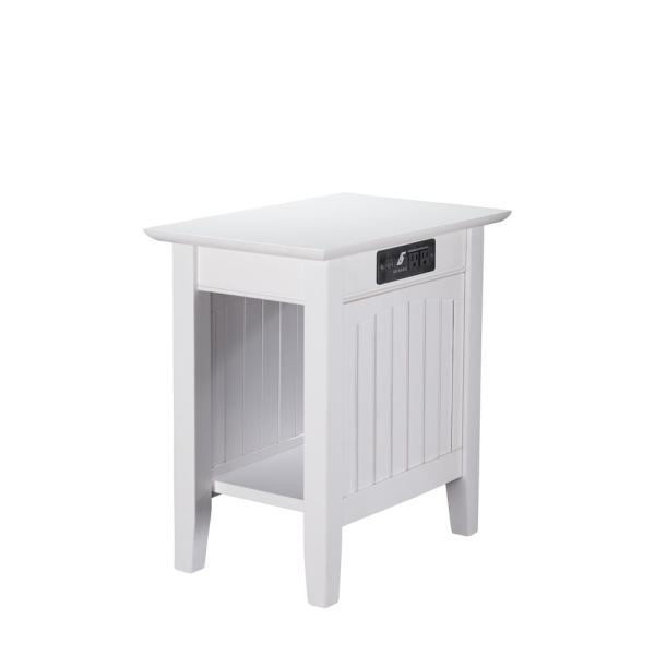 Atlantic Furniture Nantucket White Chair Side Table with Charging Station