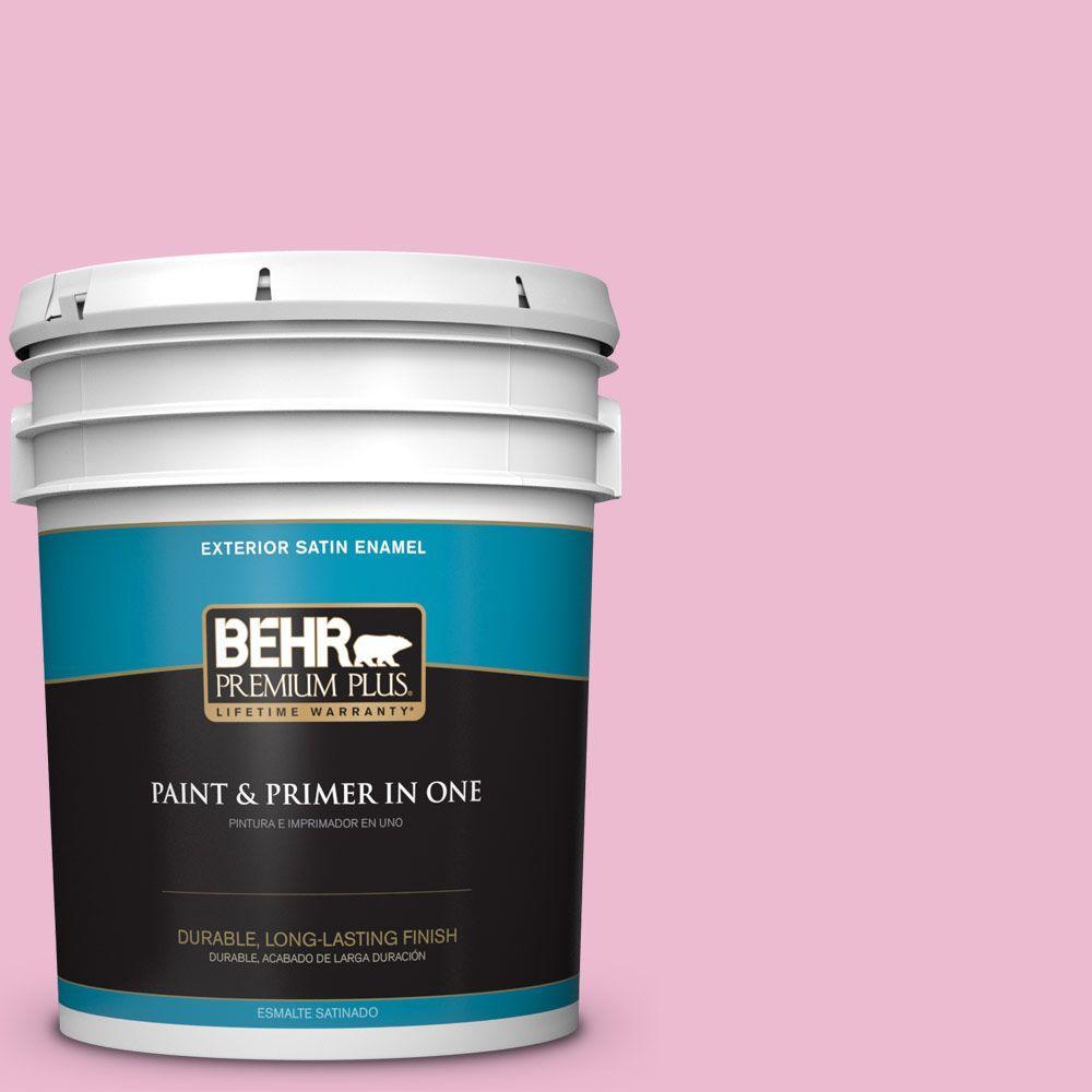 BEHR Premium Plus 5-gal. #P130-2 Pink Innocence Satin Enamel Exterior Paint