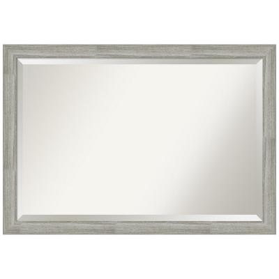 Medium Rectangle Distressed Grey Beveled Glass Modern Mirror (27.5 in. H x 39.5 in. W)