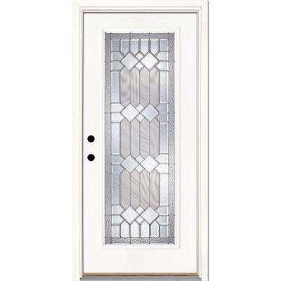 33.5 in. x 81.625 in. Mission Pointe Zinc Full Lite Unfinished Smooth Right-Hand Inswing Fiberglass Prehung Front Door