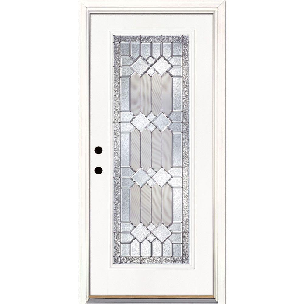 Feather River Doors 37.5 in. x 81.625 in. Mission Pointe Zinc Full Lite Unfinished Smooth Right-Hand Inswing Fiberglass Prehung Front Door