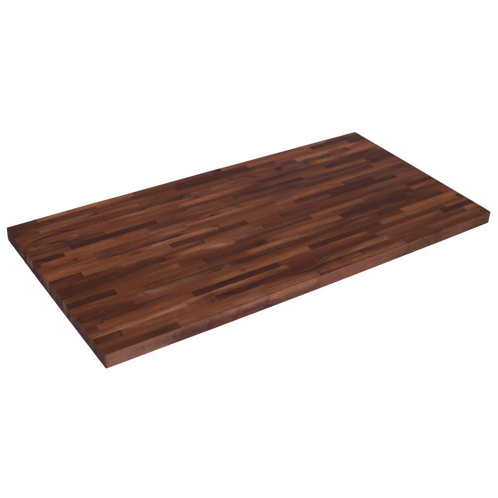 50 in. L x 25 in. D x 1.5 in. T Wood Butcher Block Countertop in Unfinished European Walnut
