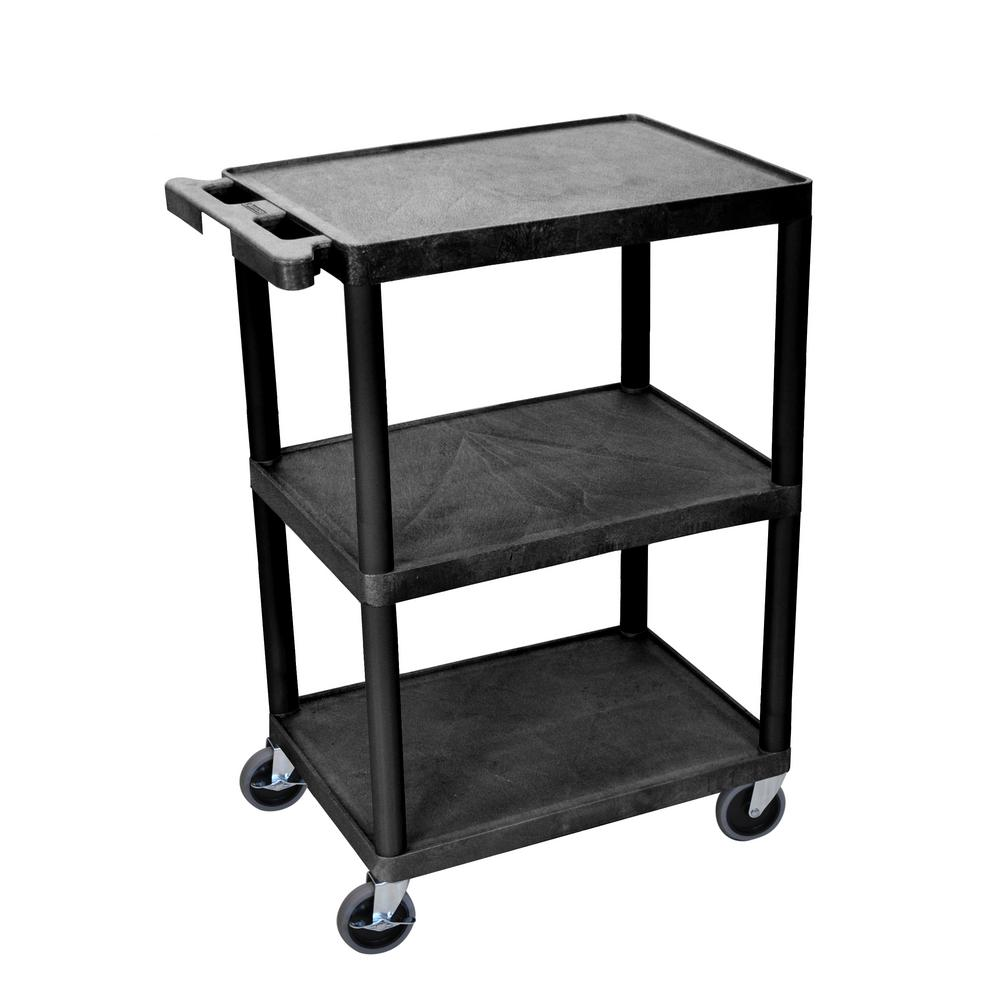 Luxor STC 24 in. 3-Shelf 0-Drawer Utility Cart in Black