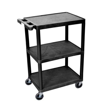 STC 24 in. 3-Shelf 0-Drawer Utility Cart in Black