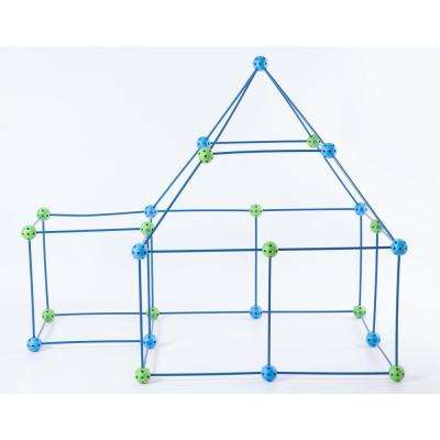 Blue and Green Plastic Building Construction Forts game (72-Pieces)