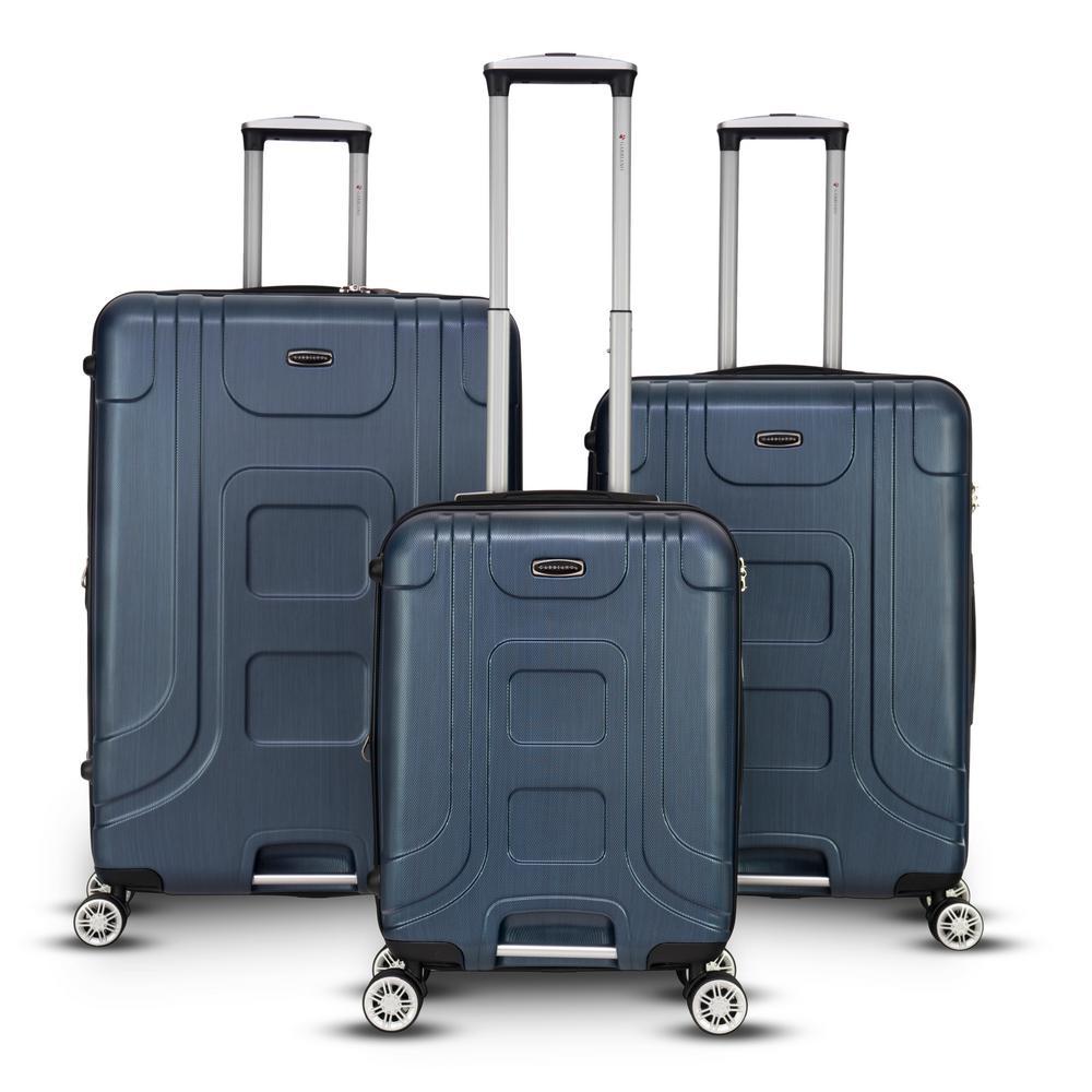 Provence 3-Piece Blue Hardside Upright Spinner Luggage Set