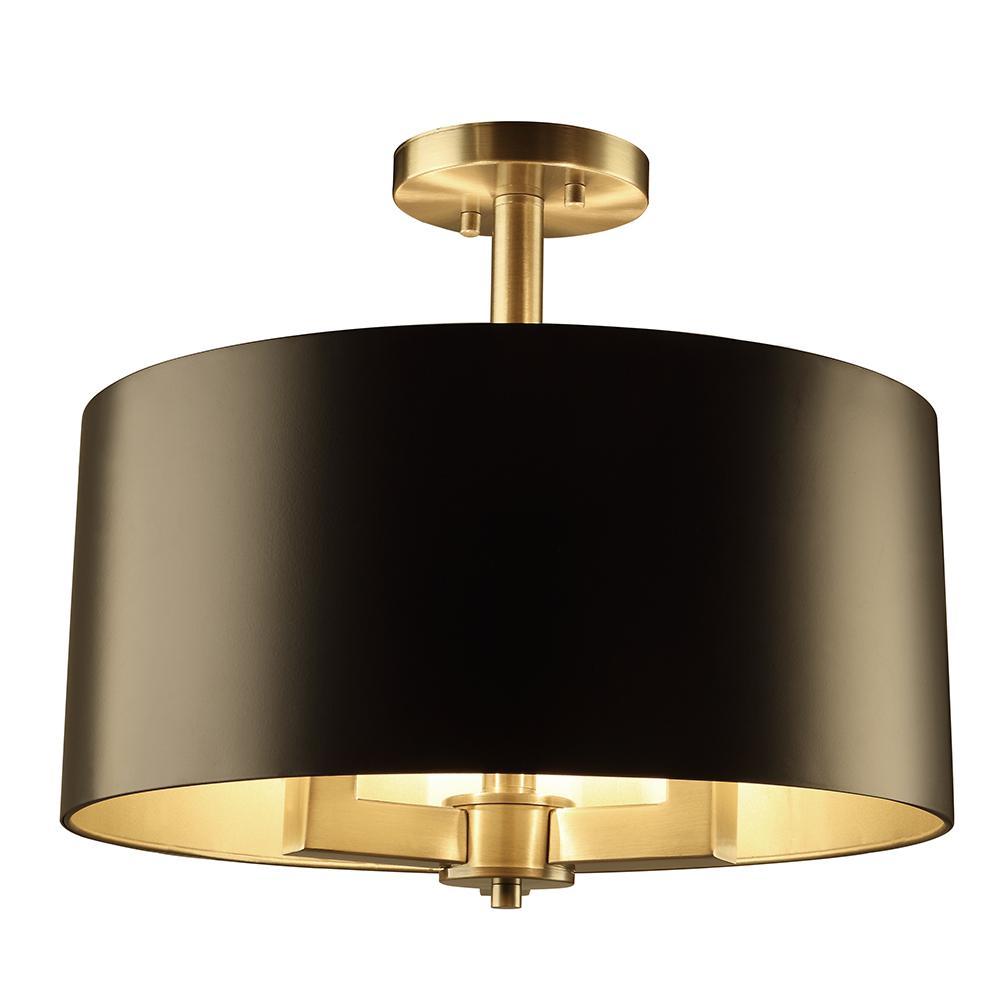 Dsi hamilton collection 3 light black and gold semi flush mount