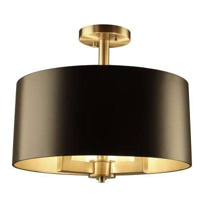 Hamilton Collection 3-Light Black and Gold Semi-Flush Mount