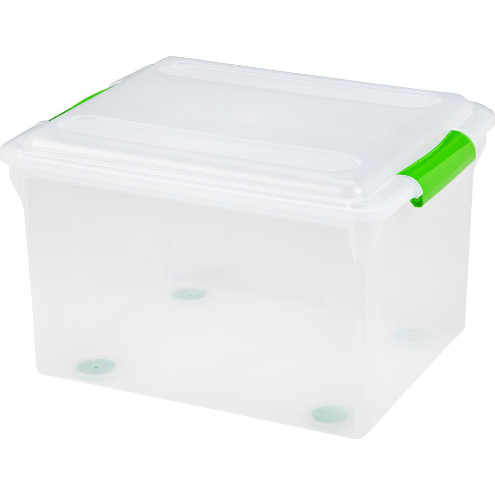 IRIS 34 Qt. Store And Slide File Storage Box In Clear