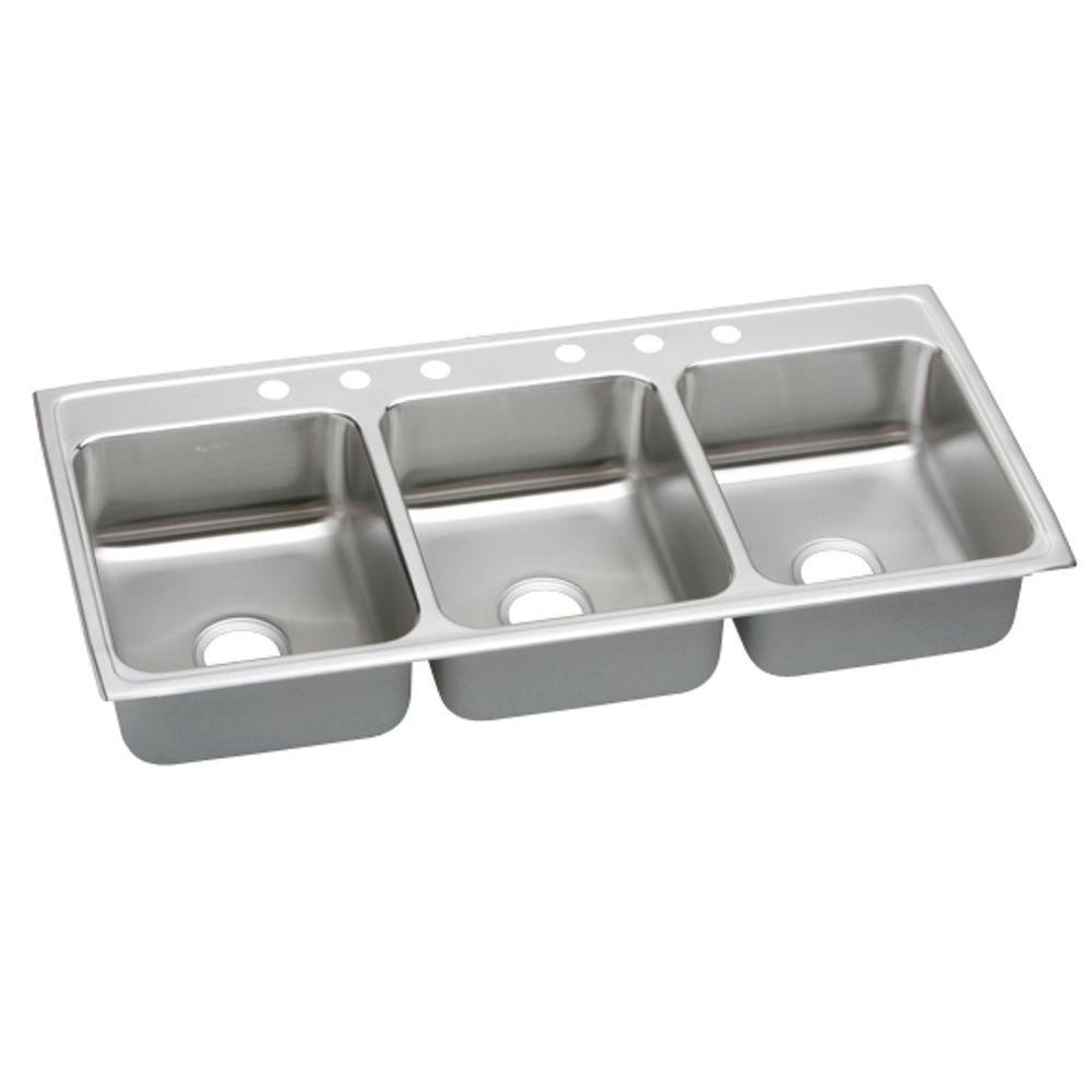 Elkay Lustertone Drop-In Stainless Steel 46 in. 6-Hole Triple Bowl Kitchen  Sink