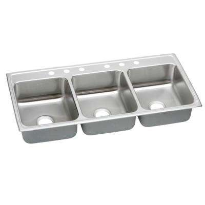 Lustertone Drop-In Stainless Steel 46 in. 6-Hole Triple Bowl Kitchen Sink