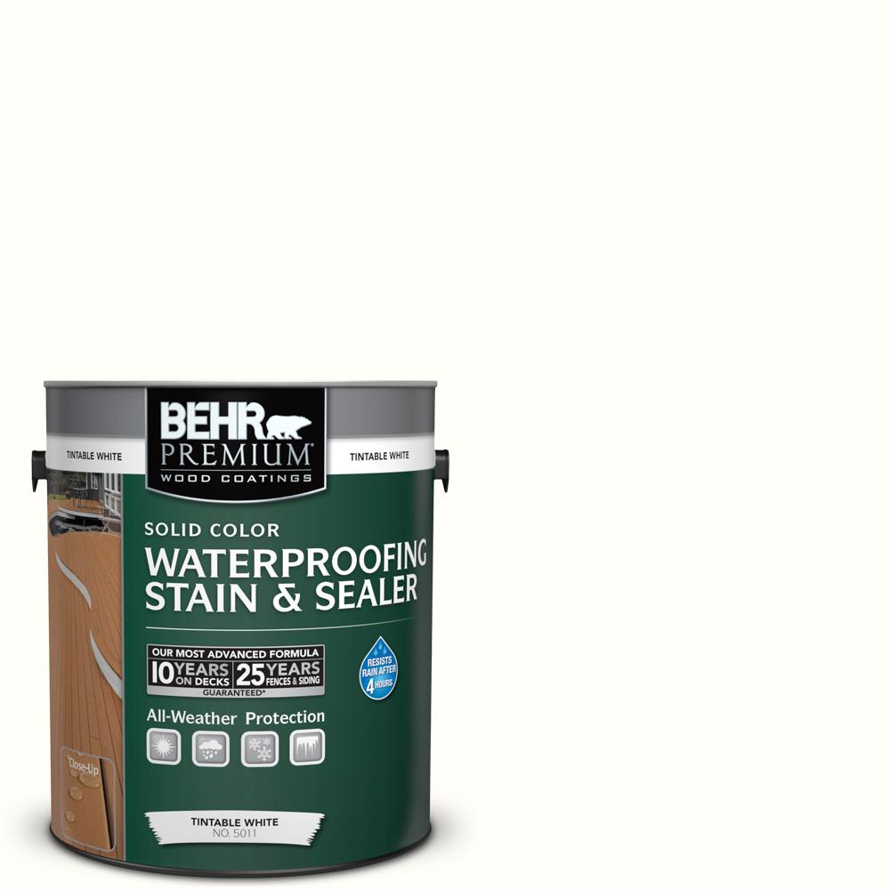 83e5391f1 BEHR Premium 1 gal.  SC-210 Ultra Pure White Solid Color Waterproofing  Exterior