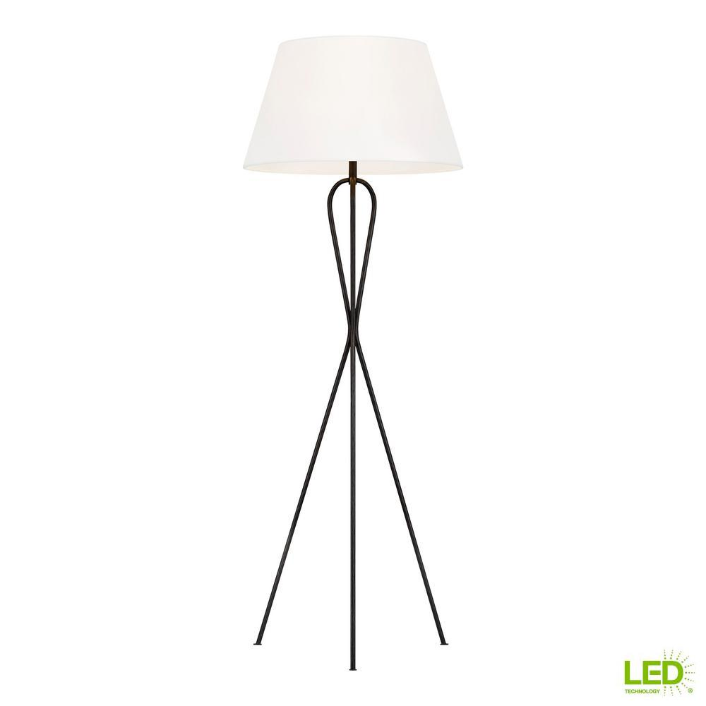 Generation Lighting Designer Collections ED Ellen DeGeneres Crafted by Generation Lighting Francis 56.125 in. Aged Iron Tripod Floor Lamp with White Linen Shade