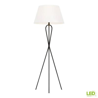 ED Ellen DeGeneres Crafted by Generation Lighting Francis 56.125 in. Aged Iron Tripod Floor Lamp with White Linen Shade
