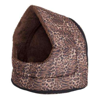 Small Leopard Print Cozy Canopy Pet Cave Bed