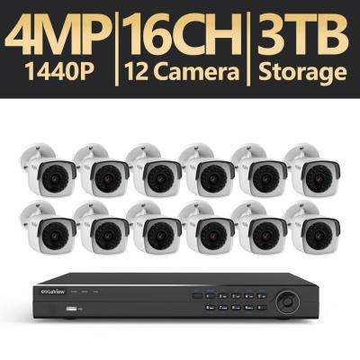 16-Channel 4MP 3TB IP NVR Surveillance System (12) 4MP Bullet Cameras with Remote View