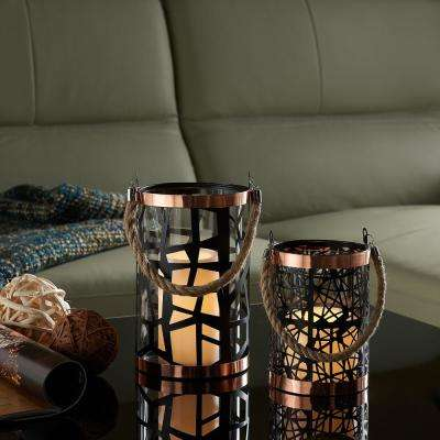 Filigree Black Hurricanes Candle Holder with Glass Insert, Rose Gold Trim and Rope Handle (Set of 2)