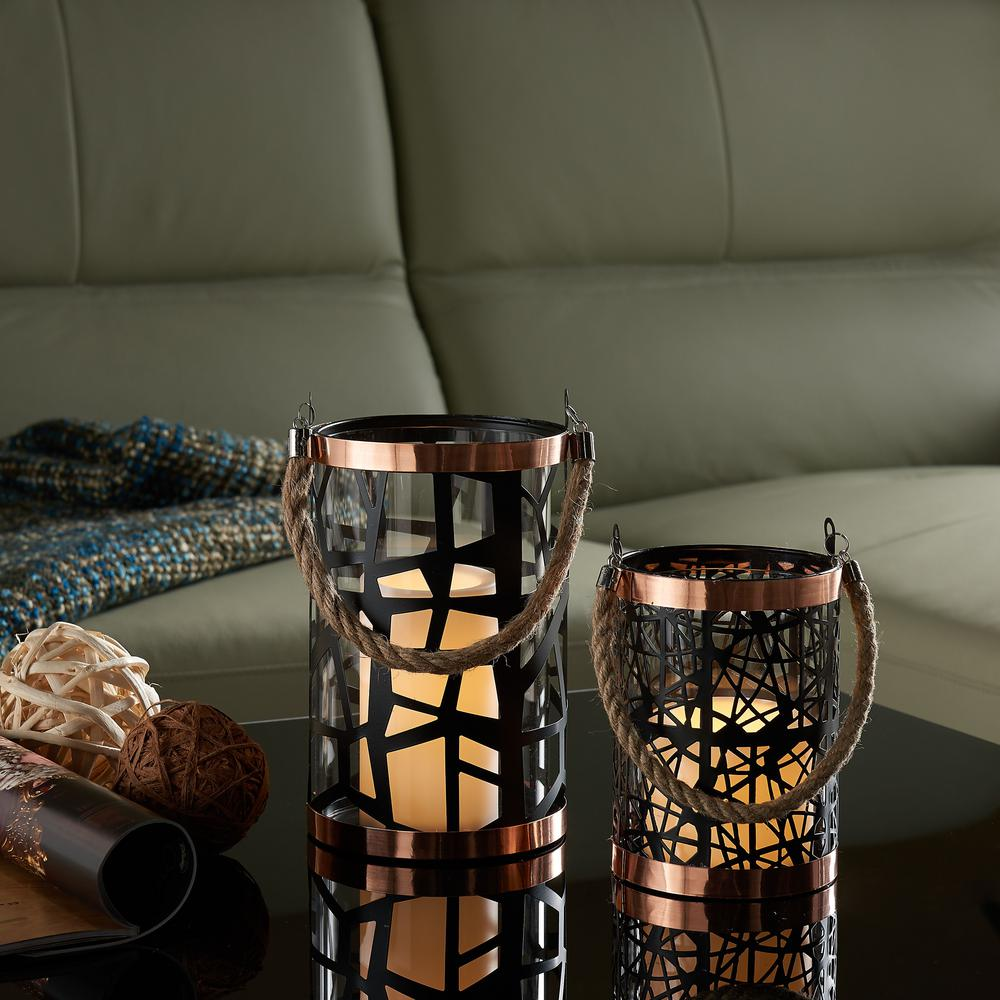 Filigree Black Hurricanes Candle Holder with Glass Insert, Rose Gold Trim
