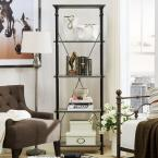 74.5 in. Weathered Gray Metal 4-shelf Etagere Bookcase with Open Back