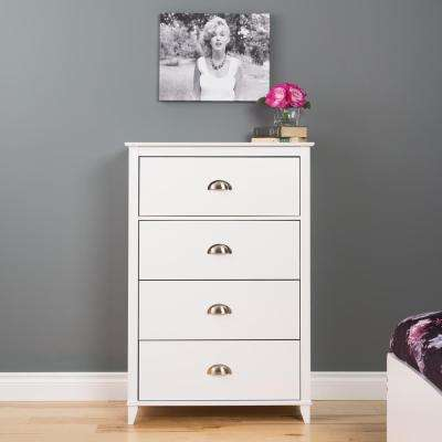 Yaletown 4-Drawer White Chest