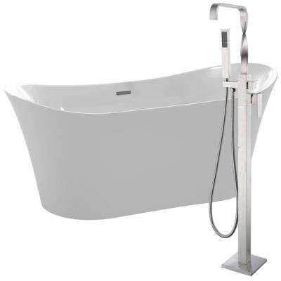 Eft 67 in. Acrylic Flatbottom Non-Whirlpool Bathtub in White with Yosemite Faucet in Brushed Nickel