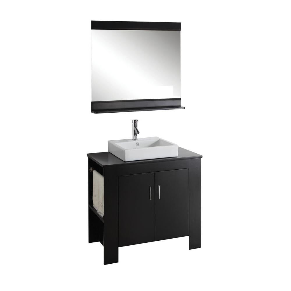Virtu USA Tavian 36 in. Single Basin Vanity in Espresso with Solid Oak Vanity Top with Porcelain Basin and Mirror-DISCONTINUED