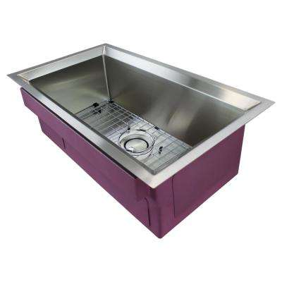 Studio Undermount Stainless Steel 33 in. Single Bowl Kitchen Sink in Brushed Finish