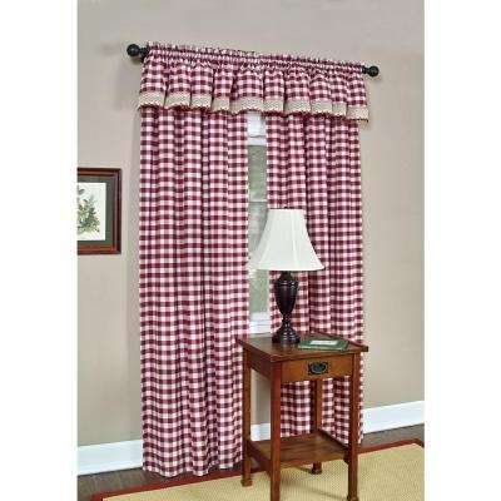 Semi-Opaque Buffalo Check Burgandy Poly/Cotton Window Curtain Panel 42 in. W x 84 in. L