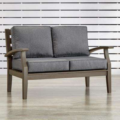 Verdon Gorge Gray Oiled Wood Outdoor Loveseat with Gray Cushions