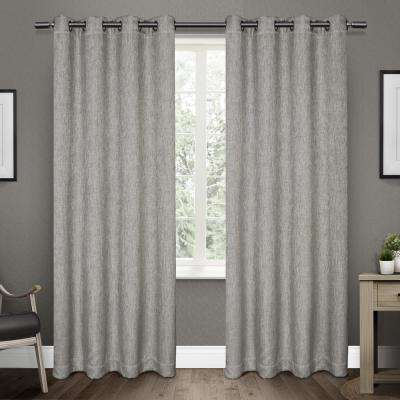 Vesta 52 in. W x 96 in. L Woven Blackout Grommet Top Curtain Panel in Black Pearl (2 Panels)