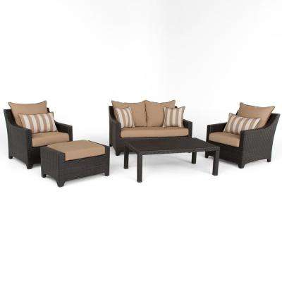 Deco 5-Piece Aluminum All-Weather Wicker Patio Love and Club Seating Set with Maxim Beige Cushions