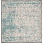 Passion Turquoise/Ivory 5 ft. 1 in. x 5 ft. 1 in. Square Area Rug