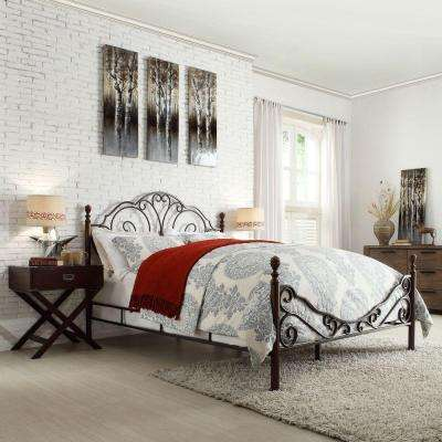 Valencia Bronzed Black and Cherry King Poster Bed