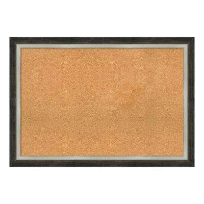 Brushed Metallic Wood Framed Cork Memo Board