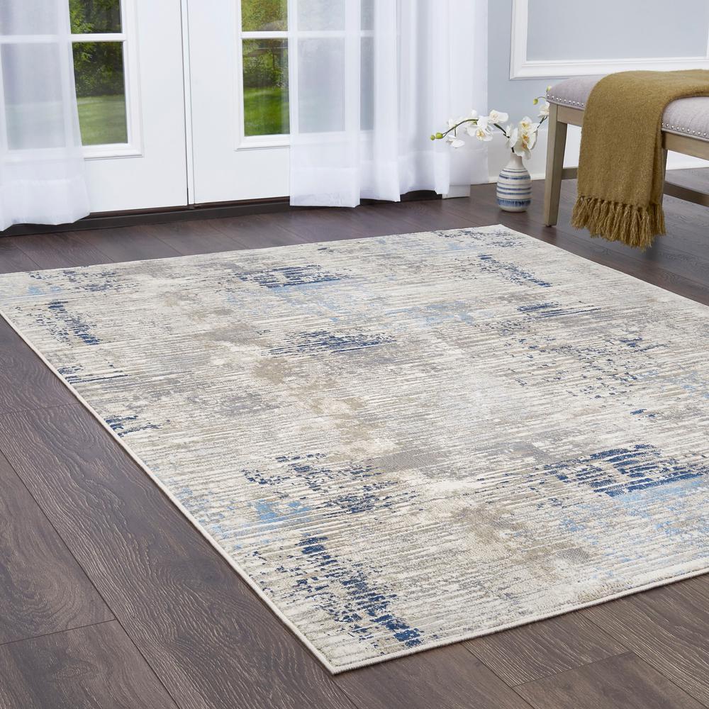 Melrose Lorenzo Gray/Blue 4 ft. x 5 ft. 4 in. Indoor Area Rug