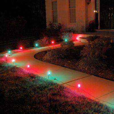 Red and Green Pathway Lights (10-Count) & Christmas Path Lights u0026 Yard Stakes - Outdoor Christmas Decorations ...