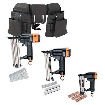 Professional 3-Piece Nail Gun Trim Kit with Fasteners and Tool Belt