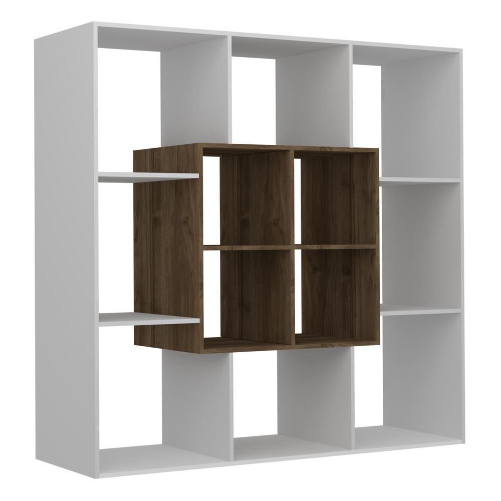 Home Decor Boston: Ada Home Decor Boston White And Walnut Modern Bookcase