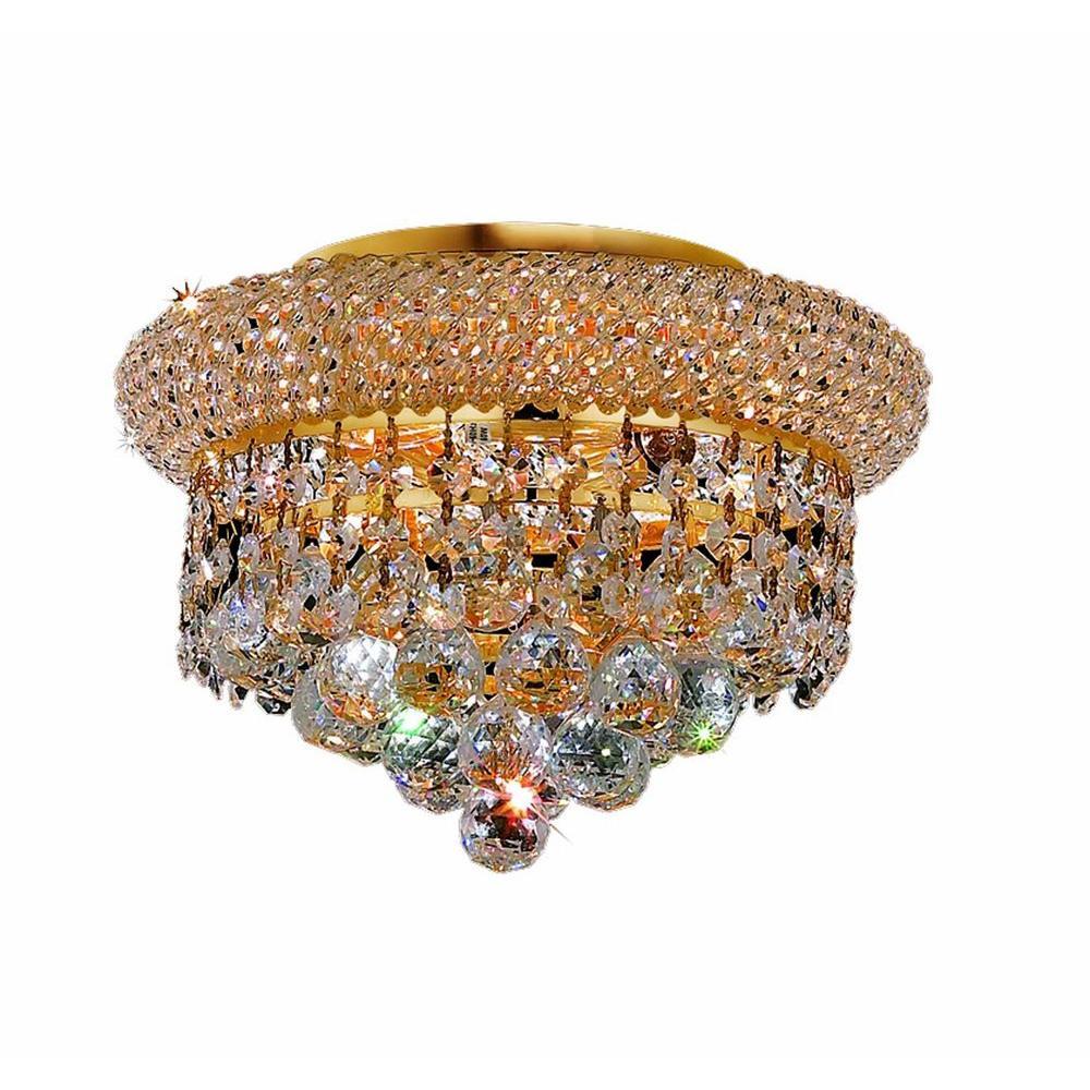 Elegant Lighting 3-Light Gold Flushmount with Clear Crystal