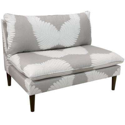 Feather Deco Grey Armless Love Seat with Grey Legs