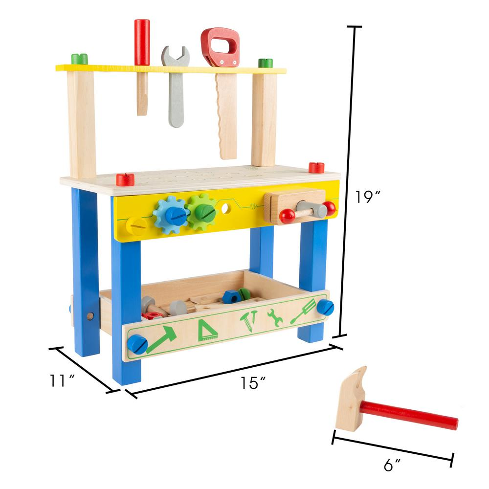 Magnificent Hey Play Pretend Play Wooden Workbench And Tool Playset With Accessories Frankydiablos Diy Chair Ideas Frankydiabloscom