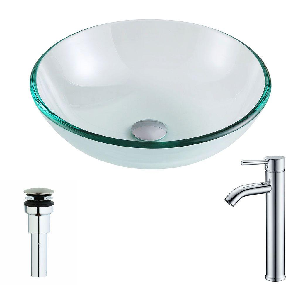 Etude Series Deco-Glass Vessel Sink in Lustrous Clear with Fann Faucet