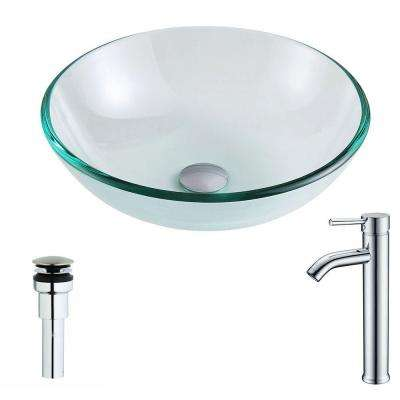Etude Series Deco-Glass Vessel Sink in Lustrous Clear with Fann Faucet in Chrome