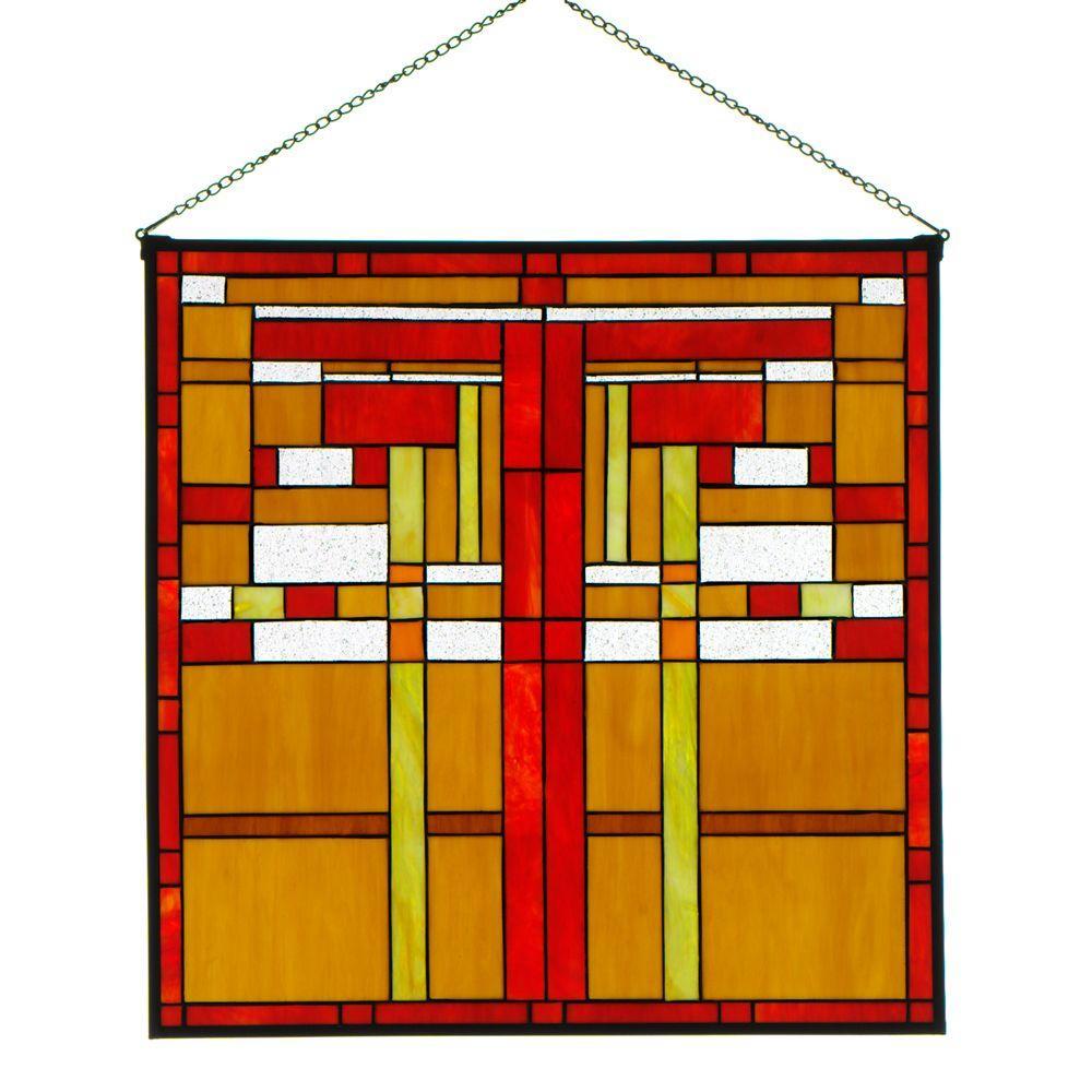 Home Decorators Collection 24 in. W Logan Red Multi Square Art Glass