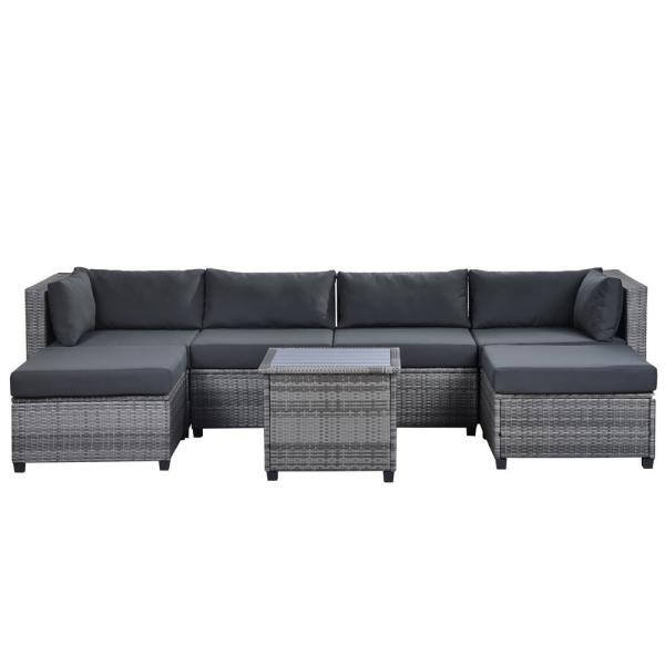 Mondawe 7 Piece Rattan Sectional Seating Group With Grey Cushions Md 1002 Gr The Home Depot