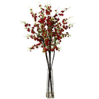 40 in. H Red Cherry Blossoms with Vase Silk Flower Arrangement