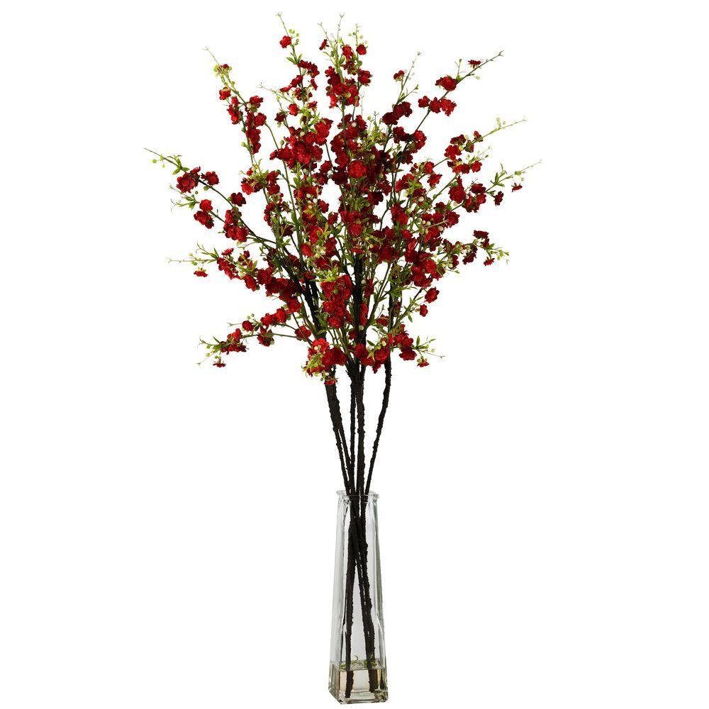 40 in. H Red Cherry Blossoms with Vase Silk Flower Arrangement