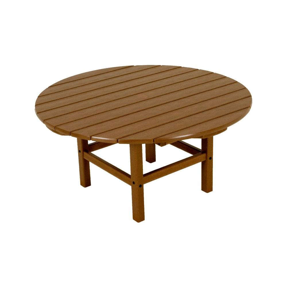 Teak 38 in. Round Patio Conversation Table