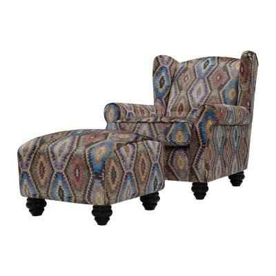 Archie Southwest Aztec Geometric Fabric Wingback Chair and Ottoman Set